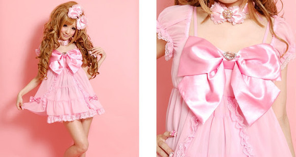 dress pink pink dress cute lis liza liz lisa princess bow princess rose princess dress princess melody cute pink dress bowknot dress bowtie dress kawaii dress japanese dress babydoll babydoll dress pink bow dress cute bow dress gyaru japan kawaii cute