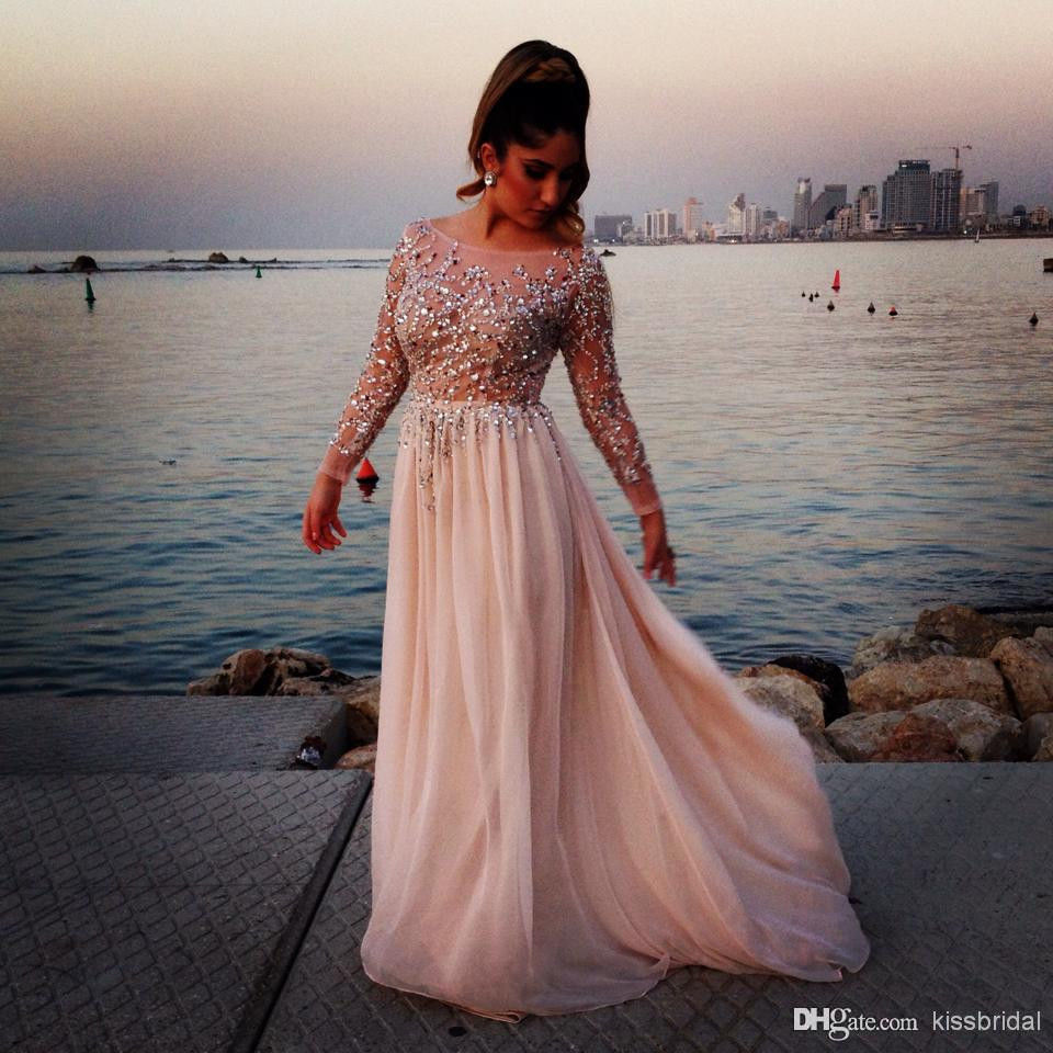 Sequins Prom Dresses Long Sleeve Chiffon Formal Evening Party ...