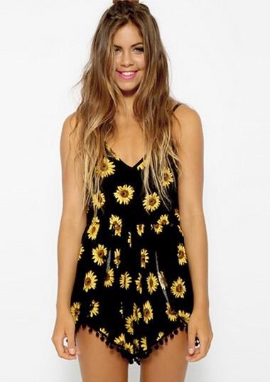 Sunflower pom pom romper · summah breeeze · online store powered by storenvy