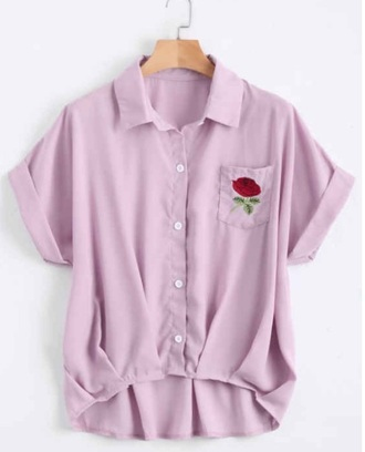 blouse embroidered girly button up purple pocket t-shirt pockets
