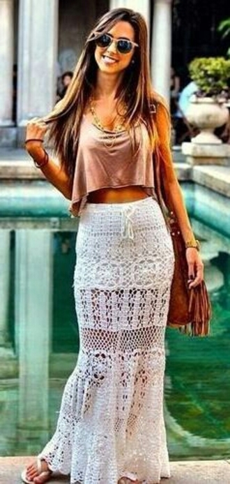 skirt blouse hair accessory white lace skirt white skirt maxi skirt