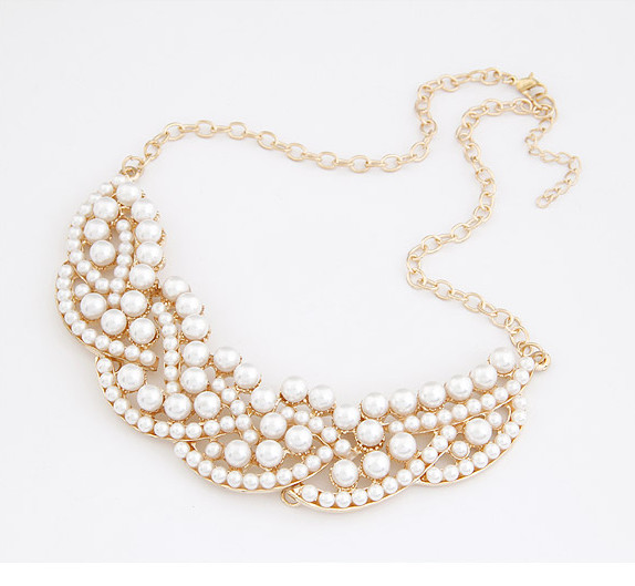 Fashion pearlescent gold tone bib necklace wholesale