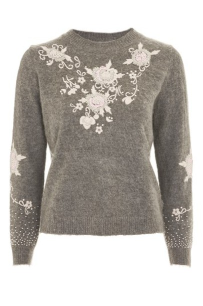 Topshop jumper embroidered fluffy grey sweater