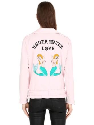 jacket biker jacket embroidered velvet pink
