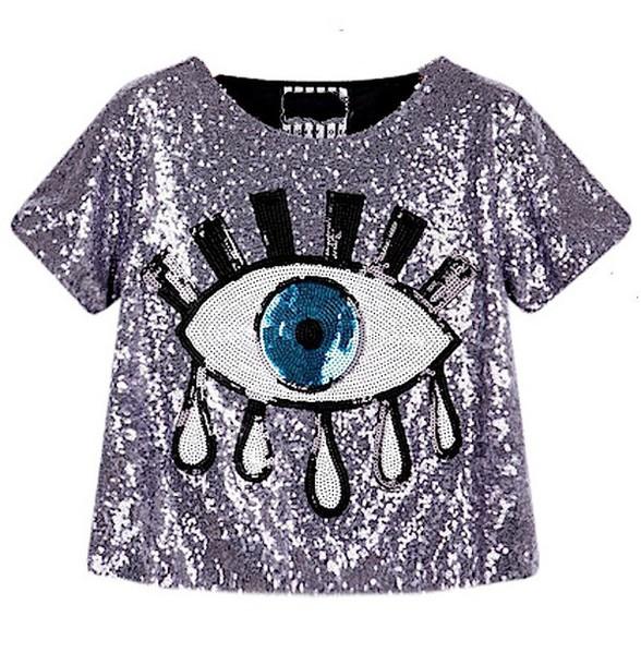top eye print glitter