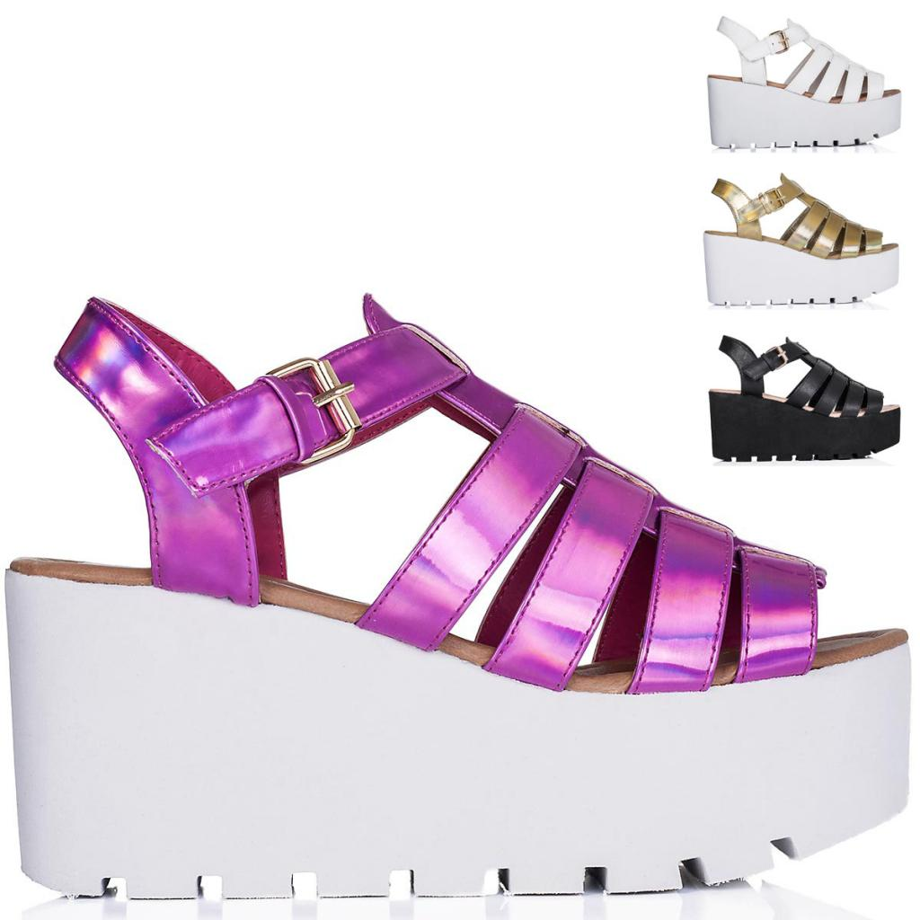 New Womens Wedge Heel Buckle Cut Out Flatform Platform Sandal Shoes Size 3 8 | eBay