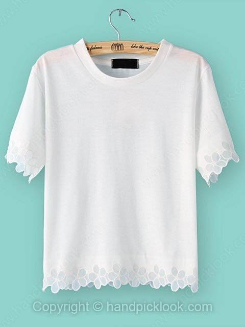 White Round Neck Short Sleeve Crop T-Shirt - HandpickLook.com