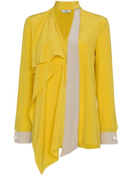 Fendi blouse women plastic silk yellow orange top