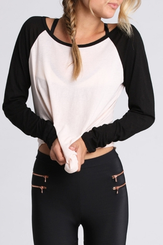 t-shirt zaful baseball tee top black black and white casual rose wholesale long sleeves style