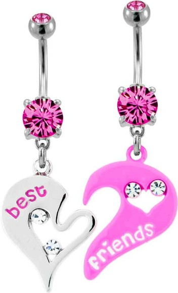 jewels pink cute silver pretty belly button ring best friends frendship