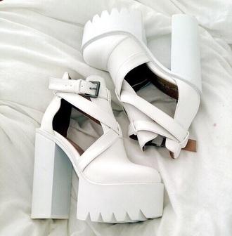 shoes white chunky heels pattern high heels heels pretty trendy