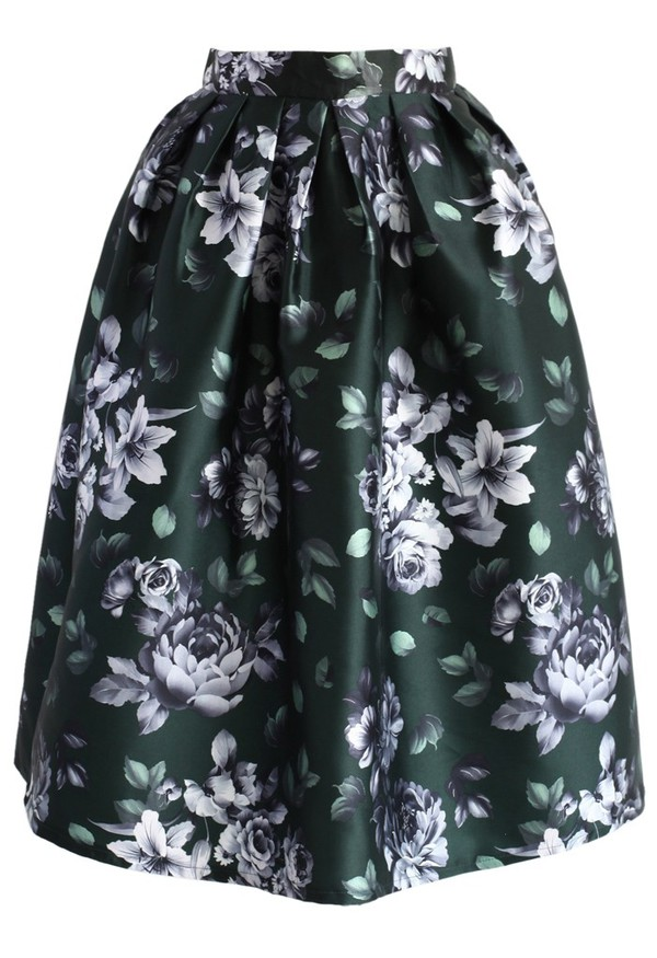 chicwish rose printed skirt pleated midi skirt