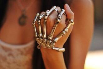 jewels silver hand bone bones bracelets