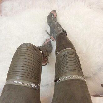 pants maniere de voir suede suede zipper khaki kylie jenner public desire khaki heels khaki shoes