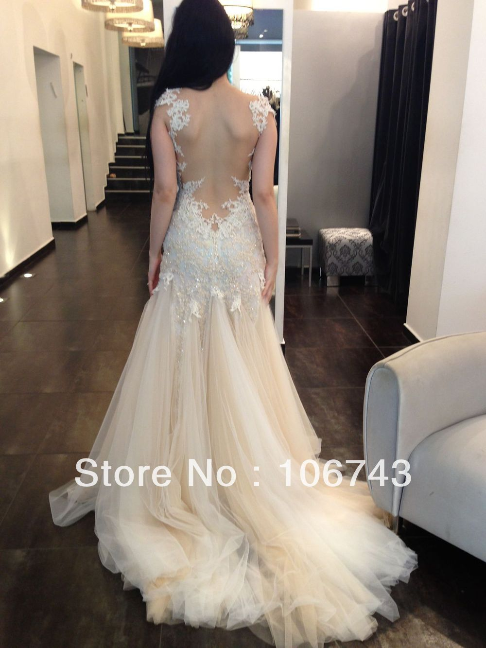 shipping 2013 new Design Custom sheer appliques Bridal Gown long ...