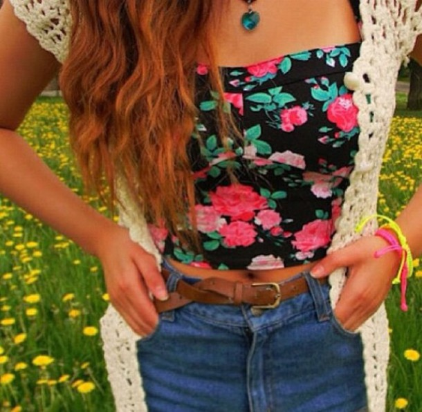 tank top top floral flowers pretty colorful summer spring crop tops bandeau t-shirt
