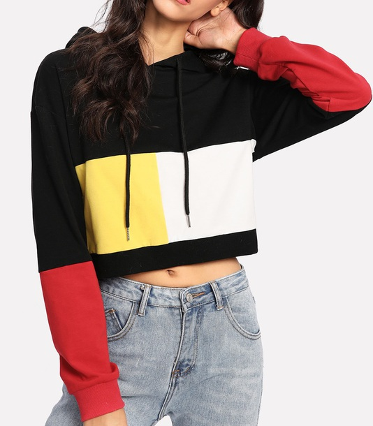 sweater girly sweatshirt hoodie crop cropped cropped sweater colorblock black yellow white red