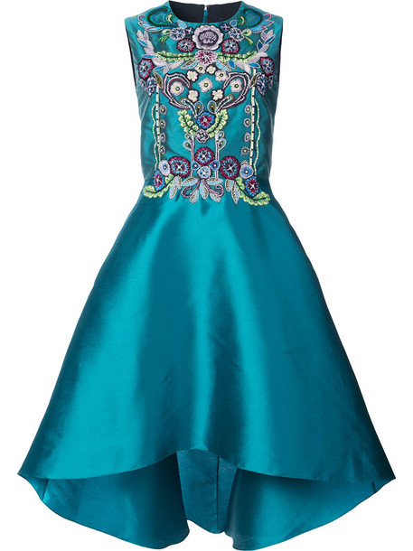 Marchesa Notte dress embellished dress high women embellished blue silk