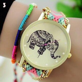 belt bracelets pull cords woven woolen watch elephant quartz
