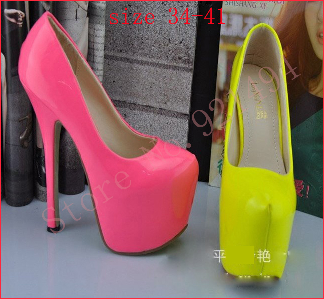 New 2014 Womens Plus Size 34 41 10 Utra Women High heels 16cm Nude Neon Yellow Pink Thin Heels Pumps Red Bottoms Nude Pumps-in Pumps from Shoes on Aliexpress.com