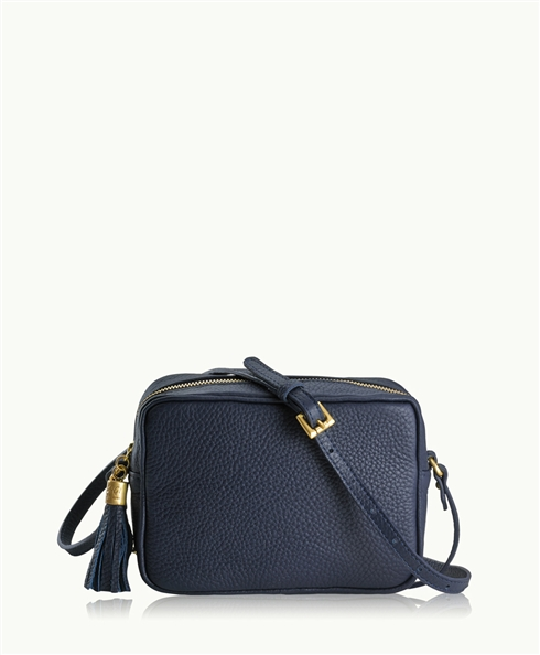 Navy Madison Crossbody | Pebble Grain Leather | GiGi New York