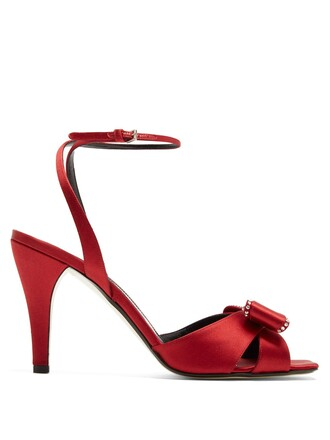 bow embellished sandals satin red shoes