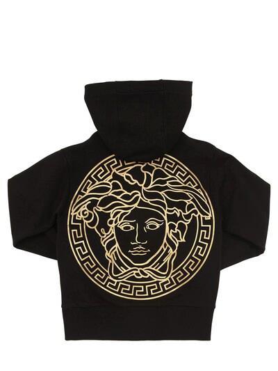 VERSACE Zip-up Cotton Sweatshirt Hoodie Black