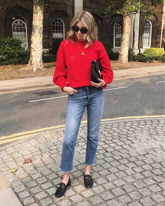 sweater red sweater tumblr jeans denim blue jeans shoes loafers black loafers sunglasses