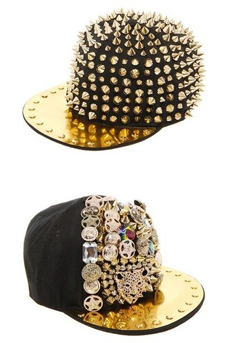 hat floppy hat black gold golden