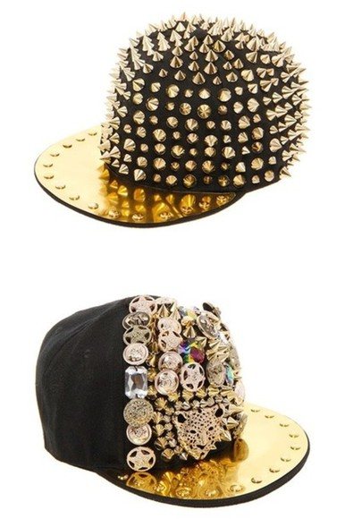 gold golden hat floppy hat black