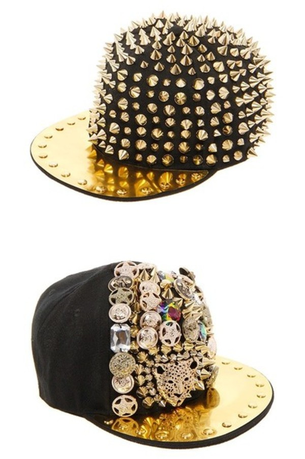 hat black gold gold