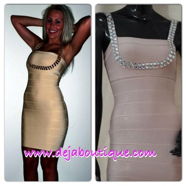 dress nude crystal bandage dress