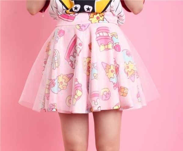 skirt pink icecrea cupcakes skirt pink dress cupcake cute dress cartoon food kawaii ulzzang girly girly outfits tumblr ice cream lovely mesh strawberry candy