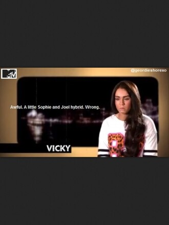 shirt clothes geordie shore celebrity vicky pattison series tv series tv show leopard print t-shirt t-shirt dress oversized oversized t-shirt tumblr number number tee