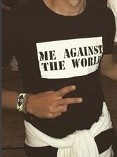 t-shirt,me against the world,slogan t-shirts,menswear,black dress,t shirt print,mens t-shirt,shirt,men's t shirts