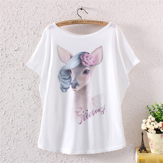shirt deer cute alternative flowy shirt whimsical