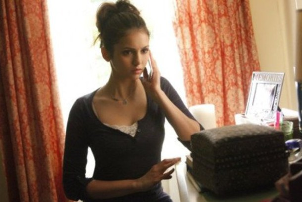 shirt, elena gilbert, nina dobrev, blue, black, long ...