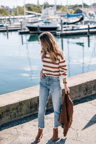 sweater brown boots brown jacket tumblr stripes striped sweater denim jeans blue jeans cropped jeans boots ankle boots jacket