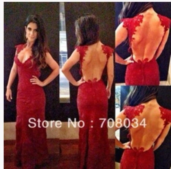 dress red long lace backless cap sleeve dress