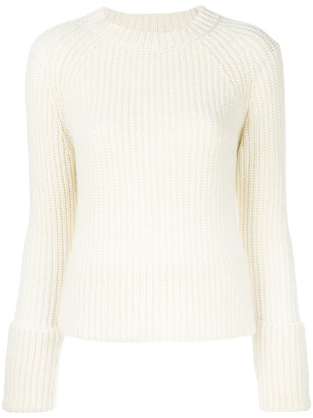 Moncler - ribbed knit sweater - women - Cashmere/Virgin Wool - L, Nude/Neutrals, Cashmere/Virgin Wool
