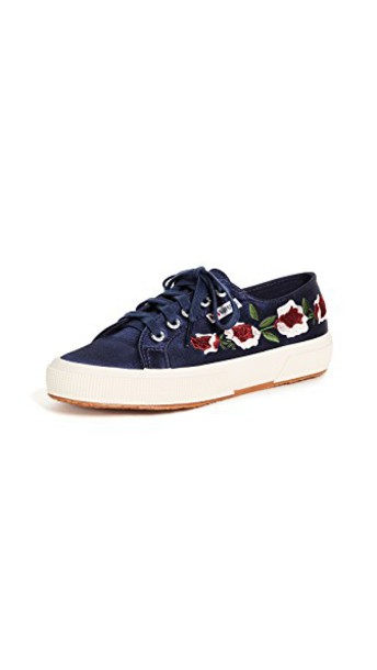 Superga floral sneakers sneakers floral satin navy shoes