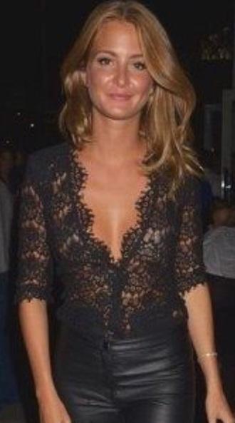 shirt black style lace