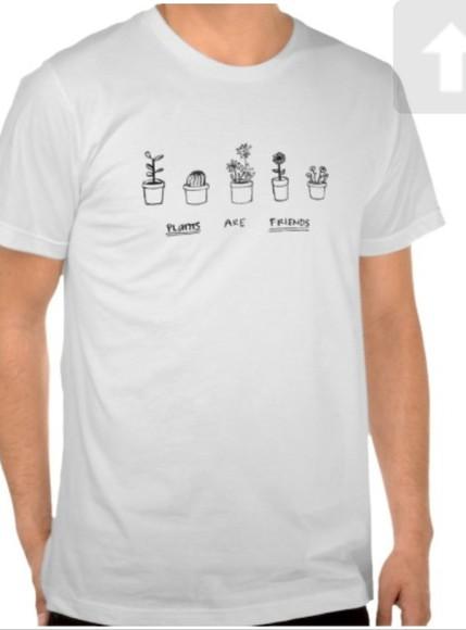 t-shirt plants friends withe