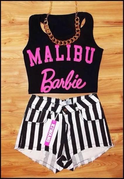 shirt shorts barbie black crop top jumpsuit malibu top crop tops striped shorts