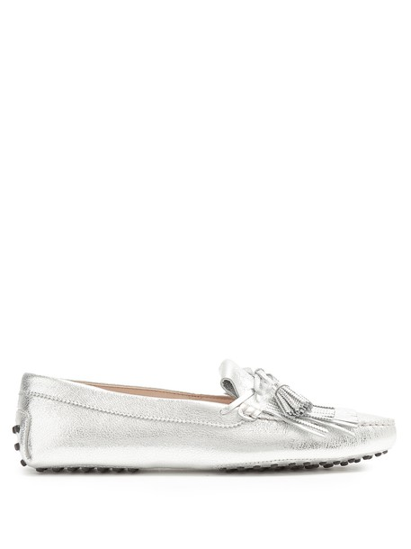 TOD'S tassel loafers leather silver shoes