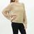 Knitted fishnet mesh batwing sweater top Khaki