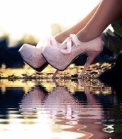 shoes,pink diamond bow heels