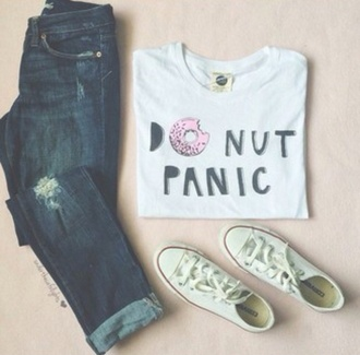 shirt top white top white shirt donut do nut care donut care donut panic do nut panic donut top donut shirt jeans