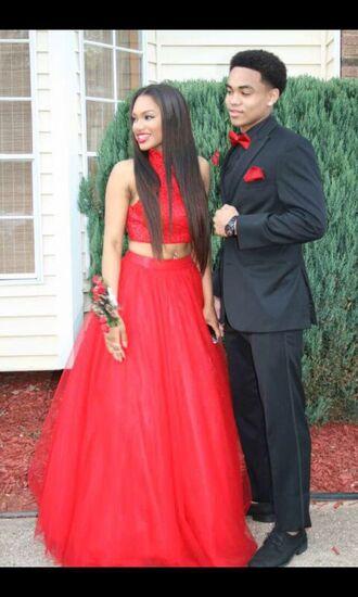 dress prom dress red princess