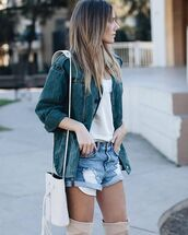 bag,tumblr,bucket bag,white bag,shorts,denim shorts,blue shorts,t-shirt,white t-shirt,jacket,blue jacket,over the knee boots,thigh high boots